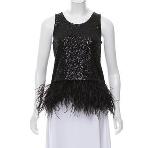 Calypso st. Barth black sequin feathers top